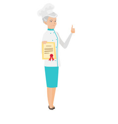 senior chef showing a certificate and thumb up vector image