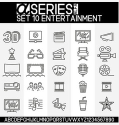 set entertainment icons vector image