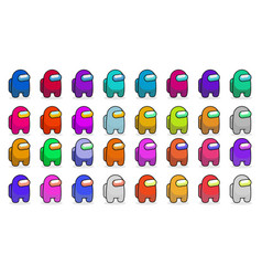 Set multicolor characters from game among vector