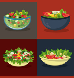 Set of differents salads in bowls vector