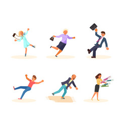 Set of falling people isolated vector