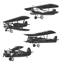 Set of the retro style planes isolated on white vector image