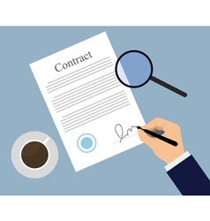 Signing contract on the table vector image