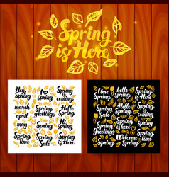 Spring is here lettering postcards vector