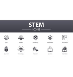 Stem simple concept icons set contains such icons vector