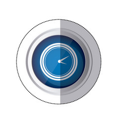 Sticker blue circular button with silhouette watch vector