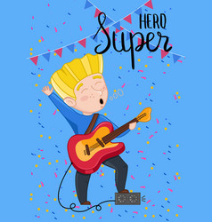 Super hero kids postcard template vector