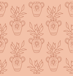 terracotta antique vase with plant line art vector image
