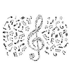 Treble clef with notes among musical symbols vector