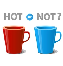 Two mugs hot and cold drinks vector image vector image