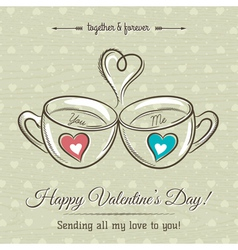 valentine card with two cup of hot drink vector image