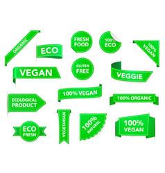 vegan badges eco organic vegetarian tags vegan vector image
