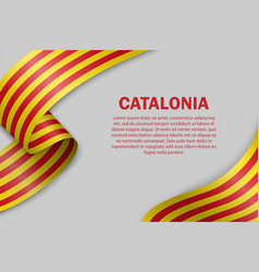 waving flag catalonia on white background vector image