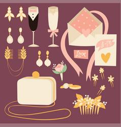 Wedding bride dress accessories fashion vector