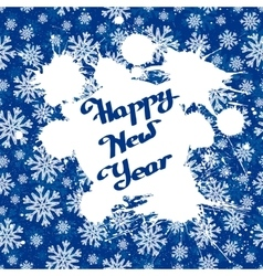 white ink splashes over blue snowflakes vector image