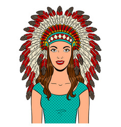 woman in indian headdress pop art vector image