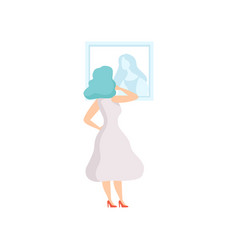 Woman in white dress looking at the painting vector