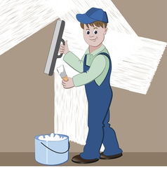 Worker or mason with spatula and plaster or cement vector image