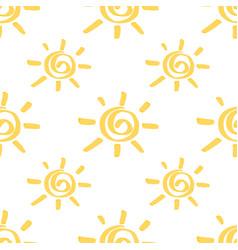 yellow marker sun seamless pattern vector image