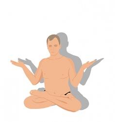 yoga man meditates vector image