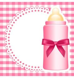 Baby bottle napkin square checkered background vector image