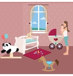 baby nursery room with crib toys and moms holding vector image vector image
