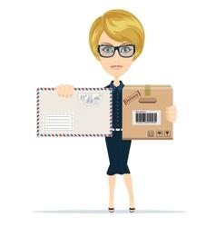 Beautiful girl postman vector image vector image