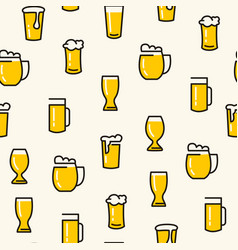 beer glasses seamless pattern vector image
