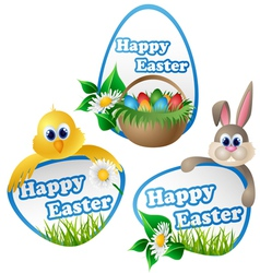 Easter label set with cartoon characters vector image vector image