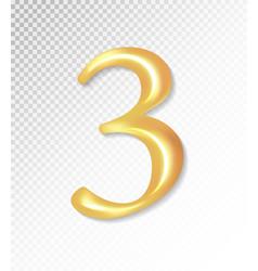 3d matt golden number collection - three 3 vector image vector image