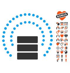 Database sphere shield icon with lovely bonus vector