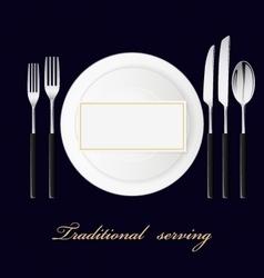 Forks spoon knives plates Serving set vector image