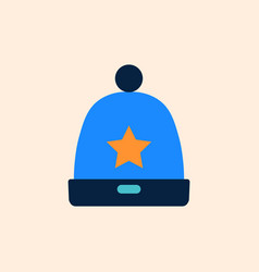 knitted blue cap with star winter hat icon flat vector image