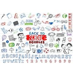 School doodles set vector image