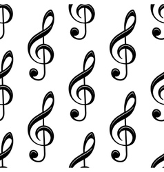 Seamless musical treble clef pattern vector image vector image