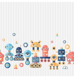 Seamless robots pattern in flat style vector image vector image