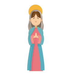 virgin mary blessed manger christmas charatcer vector image vector image