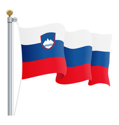 waving slovenia flag isolated on a white vector image vector image