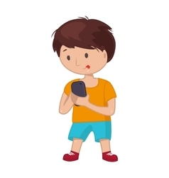 Young boy standing full length to make a self vector image