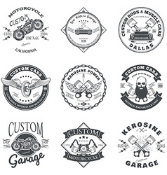 Set of custom car and bike garage label and badge vector