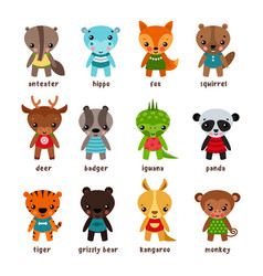 set of isolated cartoon baby animals vector image