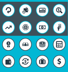 set of simple money icons vector image vector image