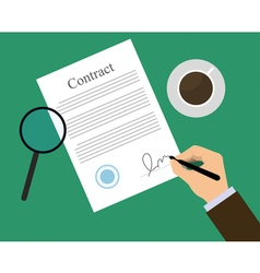 Signing contract coffe vector image vector image