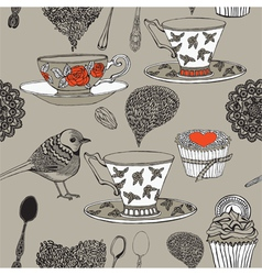 Tea and bird vector image