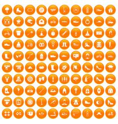 100 shoe icons set orange vector image vector image