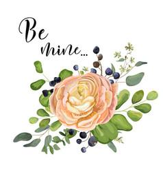 floral design card garden pink peach rose vector image vector image