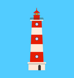 lighthouse flat icon on blue background flat vector image vector image