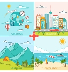 Mountain City Island Travel and tourism icons vector image