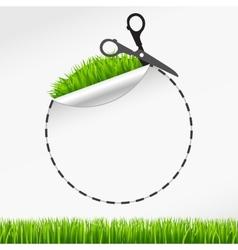 scissors cut round sticker Green grass vector image