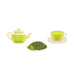 set - green leaf tea teapot cup of tea vector image
